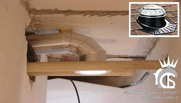 bioedilizia: tubo solare coinvoglia luce naturale dal tetto