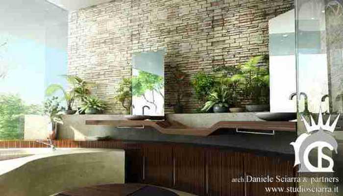 Sala da bagno natura, in legno travertino e mattoncini