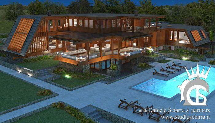 Progetto villa in legno con piscina