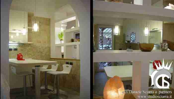soggiorno/cucina con parete forata