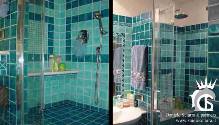 Il bagno azzurro con la doccia di coppia