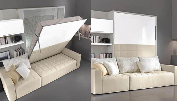 libreria e divano con letto matrimoniale a scomparsa