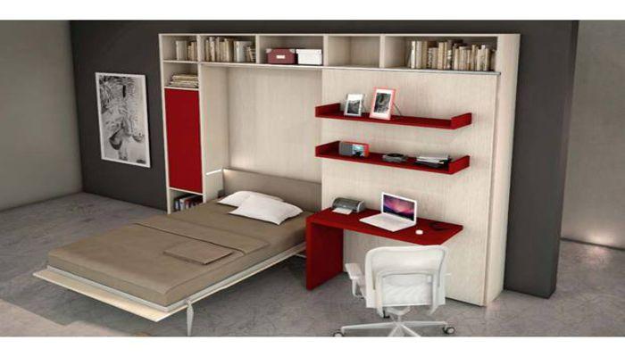 armadi e libreria salvaspazio con letto matrimoniale